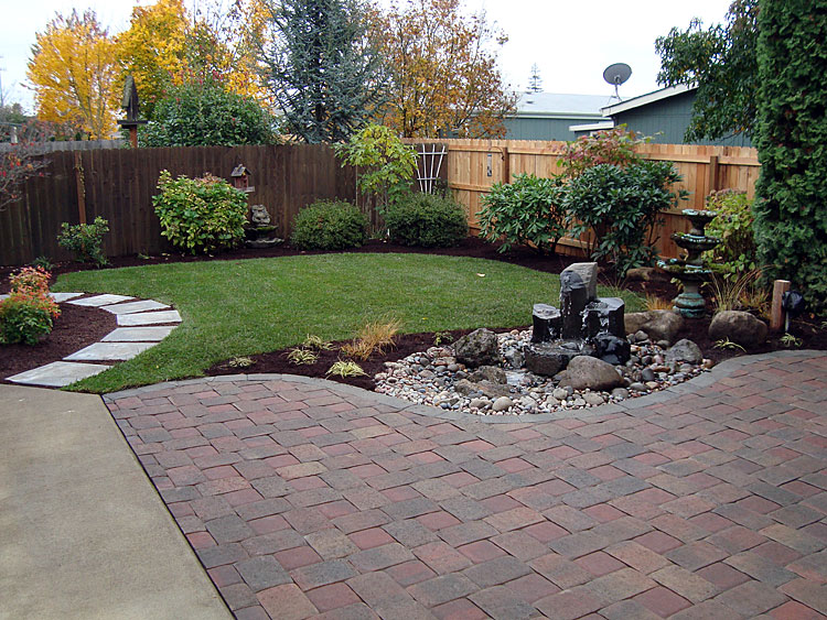 Tree shrubs and lawn installation for Back yard garden designs