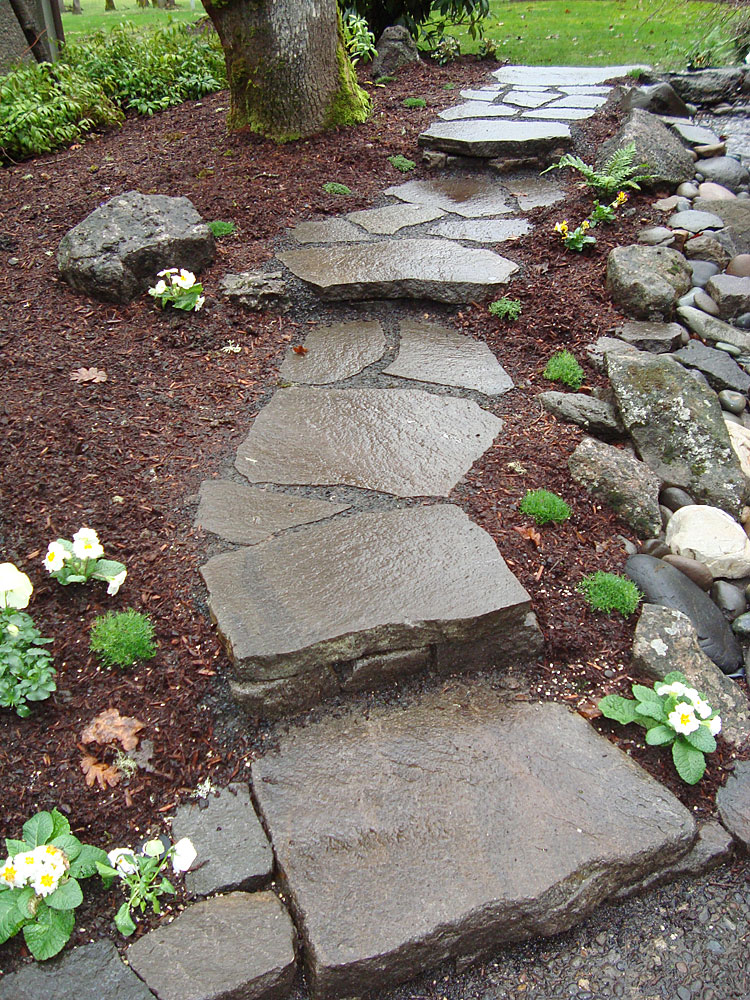 Paths patios stairs and wall installations beautiful rough and natural looking stairway and path workwithnaturefo